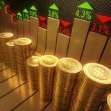 τα νομίσματα κατεβάζουν το κόκκινο απόθεμα UPS snd μολυβιών αγοράς γραφικών παραστάσεων Στοκ Φωτογραφίες