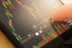 τα νομίσματα κατεβάζουν το κόκκινο απόθεμα UPS snd μολυβιών αγοράς γραφικών παραστάσεων Στοκ Φωτογραφία