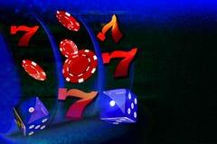 Τα νομίσματα, δολάρια, τσιπ, χωρίζουν σε τετράγωνα να πετάξουν διαμορφώνουν έξω ένα μηχάνημα τυχερών παιχνιδιών με κέρματα χαρτοπ Στοκ Εικόνα