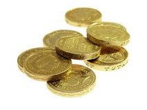 τα νομίσματα σφυροκοπούν το λευκό στοκ φωτογραφίες