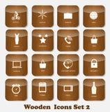 Τα ξύλινα εικονίδια εφαρμογής καθορισμένα τη διανυσματική απεικόνιση Στοκ Εικόνα