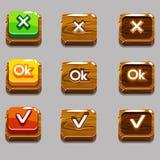 Τα ξύλινα τετραγωνικά κουμπιά για το παιχνίδι, ΕΝΤΆΞΕΙ, ναι, κλείνουν Στοκ Εικόνες