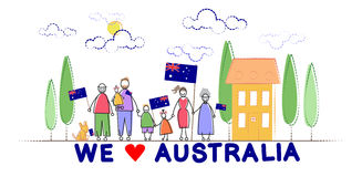 Τα οικογενειακά παιδιά εθνικών σημαιών ημέρας της Αυστραλίας αγκαλιάζουν απεικόνιση αποθεμάτων