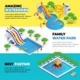 Τα οριζόντια εμβλήματα Ιστού Aquapark με το διαφορετικό νερό γλιστρούν, πάρκο οικογενειακού νερού, σωλήνες λόφων και isometric δι διανυσματική απεικόνιση