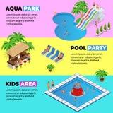 Τα οριζόντια εμβλήματα Ιστού Aquapark με το διαφορετικό νερό γλιστρούν, πάρκο οικογενειακού νερού, σωλήνες λόφων και isometric δι απεικόνιση αποθεμάτων