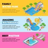 Τα οριζόντια εμβλήματα Ιστού Aquapark με το διαφορετικό νερό γλιστρούν, πάρκο οικογενειακού νερού, σωλήνες λόφων και isometric δι ελεύθερη απεικόνιση δικαιώματος
