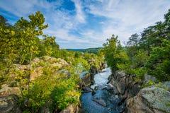 Τα ορμητικά σημεία ποταμού στο Potomac ποταμό στις μεγάλες πτώσεις, που βλέπουν από Olmsted είναι Στοκ Φωτογραφία