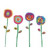 Τα λουλούδια δίνουν το συρμένο διάνυσμα χρώματος Στοκ Φωτογραφία