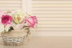 τα λουλούδια καλαθιών απομόνωσαν το λευκό Στοκ φωτογραφίες με δικαίωμα ελεύθερης χρήσης