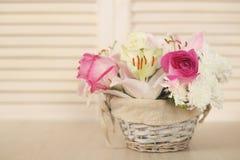τα λουλούδια καλαθιών απομόνωσαν το λευκό Στοκ Φωτογραφίες