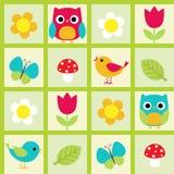 τα λουλούδια πουλιών που τίθενται το διάνυσμα αυτοκόλλητων ετικεττών Στοκ φωτογραφία με δικαίωμα ελεύθερης χρήσης