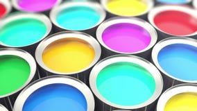 Τα δοχεία χρωματίζουν, ομάδα δοχείων μετάλλων κασσίτερου με τη χρωστική ουσία χρωμάτων χρώματος, βρόχος-ικανή τρισδιάστατη ζωτικό