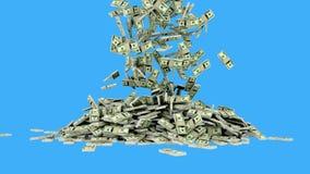 Τα δολάρια πέφτουν Ρεαλιστική ζωτικότητα Πράσινο μήκος σε πόδηα οθόνης ελεύθερη απεικόνιση δικαιώματος
