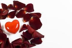 τα πέταλα καρδιών κόκκινα αυξήθηκαν μικρός Στοκ εικόνα με δικαίωμα ελεύθερης χρήσης