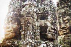 Τα πέτρινα πρόσωπα στο ναό Bayon, Angkor, Siem συγκεντρώνουν, Καμπότζη Στοκ Φωτογραφία