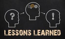Τα παθήματα που γίνονται μαθήματα - επιχειρησιακή έννοια στον πίνακα κιμωλίας Στοκ Εικόνες