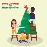 Τα παιδιά διακοσμούν την έγχρωμη εικονογράφηση χριστουγεννιάτικων δέντρων Στοκ Εικόνες