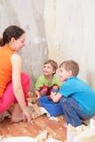 τα παιδιά κάνουν το χώρο αν&al Στοκ Εικόνα
