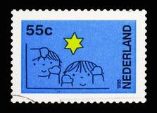 Τα παιδιά και τα αστέρια, Δεκέμβριος σφραγίζουν serie, circa το 1995 Στοκ Φωτογραφίες