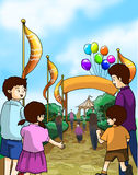 Τα παιδιά και οι οικογένειες πηγαίνουν σε μια έκθεση διασκέδασης διανυσματική απεικόνιση
