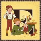 Τα παιδιά κρατούν το αλφάβητο παραμυθιού κινούμενων σχεδίων Γράμμα Ε Οι νεράιδες και ο υποδηματοποιός από Grimm Brothers Στοκ Εικόνες