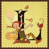 Τα παιδιά κρατούν το αλφάβητο παραμυθιού κινούμενων σχεδίων Γράμμα Λ Pippi Longstocking από τη Astrid Lindgren Στοκ Εικόνες
