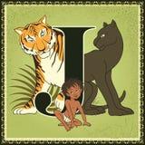 Τα παιδιά κρατούν το αλφάβητο παραμυθιού κινούμενων σχεδίων Γράμμα J Mowgli, Bagheera και Shere Khan Το βιβλίο ζουγκλών από Rudya Στοκ εικόνες με δικαίωμα ελεύθερης χρήσης