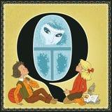 Τα παιδιά κρατούν το αλφάβητο παραμυθιού κινούμενων σχεδίων Γράμμα Q Η βασίλισσα χιονιού από Hans Christian Andersen Στοκ Εικόνες