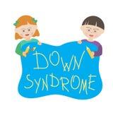 Τα παιδιά με το κάτω σύνδρομο κρατούν ένα μπλε σημάδι που λέει κάτω από το σύνδρομο ελεύθερη απεικόνιση δικαιώματος