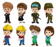 Τα παιδιά ντύνουν επάνω ως επάγγελμα όπως η επιχείρηση, στρατιώτης, μηχανικός, γιατρός απεικόνιση αποθεμάτων