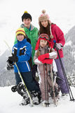 τα παιδιά ομαδοποιούν το σκι βουνών διακοπών Στοκ φωτογραφία με δικαίωμα ελεύθερης χρήσης