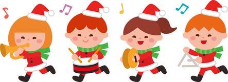 Τα παιδιά παίζουν τη μουσική Χριστουγέννων Επίπεδο σχέδιο επίσης corel σύρετε το διάνυσμα απεικόνισης χαρακτήρας κινουμένων σχεδί διανυσματική απεικόνιση