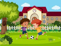 Τα παιδιά παίζουν το ποδόσφαιρο στο σχολείο διανυσματική απεικόνιση