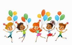 Τα παιδιά πηδούν ob τον αστείο διανυσματικό χαρακτήρα κινούμενων σχεδίων θερινού υποβάθρου bunner απεικόνιση ελεύθερη απεικόνιση δικαιώματος