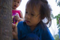 Τα παιδιά που προσπαθούν ταΐζοντας ένα κομμάτι των τροφίμων στο μυρμήγκι, το καλό παιδί της Ασίας που κρατά τρόφιμα και προσπαθού στοκ εικόνα