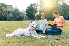 Τα παιδιά στηρίζονται στο πάρκο στον πράσινο χορτοτάπητα με ένα άσπρο σκυλί γεροδεμένο, διαβάζοντας το βιβλίο, ομιλία στοκ εικόνα με δικαίωμα ελεύθερης χρήσης