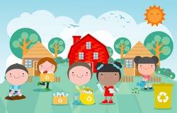 Τα παιδιά συλλέγουν τα σκουπίδια για την ανακύκλωση, παιδιά που διαχωρίζουν τα απορρίμματα, εκτός από τον κόσμο, πρότυπο για τη δ ελεύθερη απεικόνιση δικαιώματος