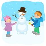 Τα παιδιά φορμάρουν έναν χιονάνθρωπο απεικόνιση αποθεμάτων