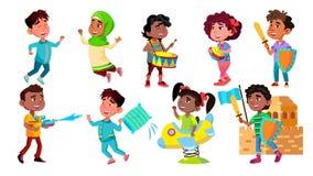 Τα παιδιά χαρακτήρα χαίρονται και παίζοντας καθορισμένο διάνυσμα διανυσματική απεικόνιση