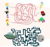 Τα παιχνίδια λαβύρινθων που τίθενται τρόπο για τα preschoolers βρίσκουν τον στοκ εικόνες