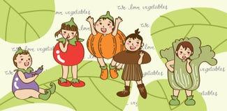 Τα παιδιά αγαπούν το λαχανικό στοκ εικόνες