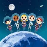 τα παιδιά αστροναυτών ονειρεύονται Στοκ φωτογραφία με δικαίωμα ελεύθερης χρήσης