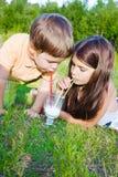 Το κορίτσι και το αγόρι πίνουν το γάλα Στοκ Εικόνες