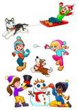 Τα παιδιά παίζουν με το χιόνι ελεύθερη απεικόνιση δικαιώματος