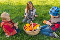 Τα παιδιά παίζουν στον κήπο στη χλόη Στοκ φωτογραφία με δικαίωμα ελεύθερης χρήσης