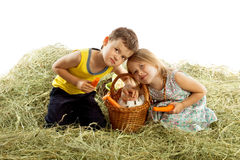 Τα παιδιά παίζουν στο σανό Στοκ Εικόνες