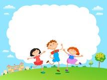 Τα παιδιά παίζουν το σχέδιο σύννεφων πέρα από τη διανυσματική απεικόνιση υποβάθρου ουρανού διανυσματική απεικόνιση