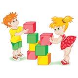 Τα παιδιά που παίζουν με χωρίζουν σε τετράγωνα Στοκ Εικόνα