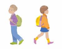τα παιδιά που πηγαίνουν έχουν εγώ χρωμάτισαν το σχολείο εικόνων στα watercolors Στοκ εικόνες με δικαίωμα ελεύθερης χρήσης