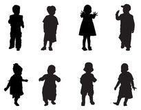 τα παιδιά σκιαγραφούν Στοκ Εικόνες